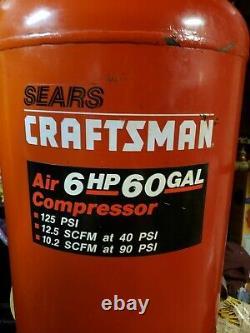 Sears Craftsman 919175260 One Stage Air Compressor 6 HP, 60 Gallon, Max PSI 125