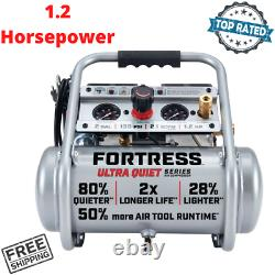 Ultra Quiet Air Compressor 2 Gallon 135 PSI Portable Hand Carry Oil Free Pump