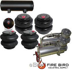 V Air Ride Suspension Parts Dual Air Compressor Four Air Bags 5 Gallon Tank