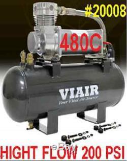 VIAIR High Flow 200PSI 12v Volt Air Compressor 20008 480C HD 2 Gallon Air Tank