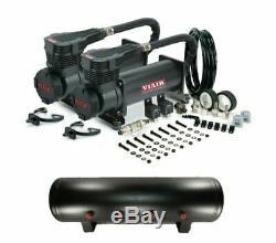 Viair 485C BLACK Dual Pack Air Compressors 200 PSI w 4 Gallon 9 Port Air Tank