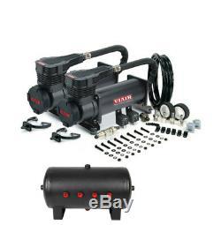 Viair 485C Black Dual Air Compressor 200 PSI Max. With 5 Gallon 8 1/2 Port Tank