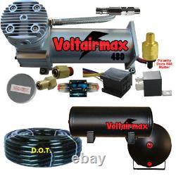Voltairmax DC480 200psi Compressor 3 Gallon Airtank 25 ft Airhose Air Ride Parts